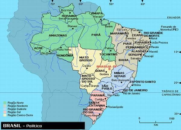 Mapas do Brasil  Estados e Capitais do Brasil