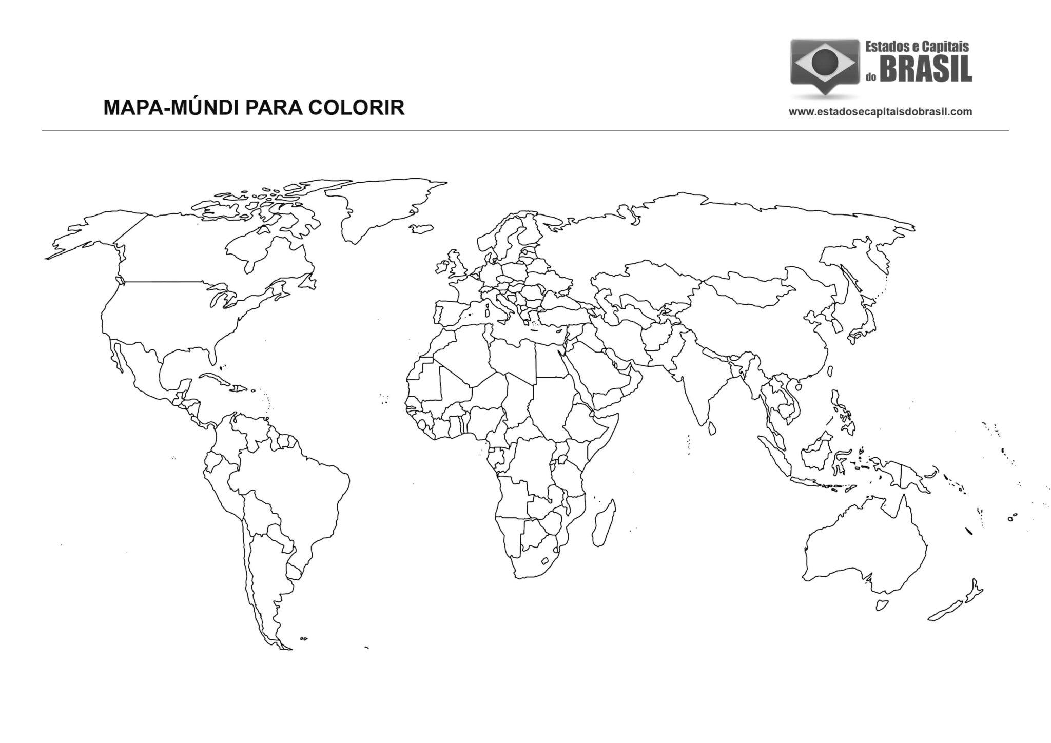 Mapa-Múndi para colorir (países) - versão 2