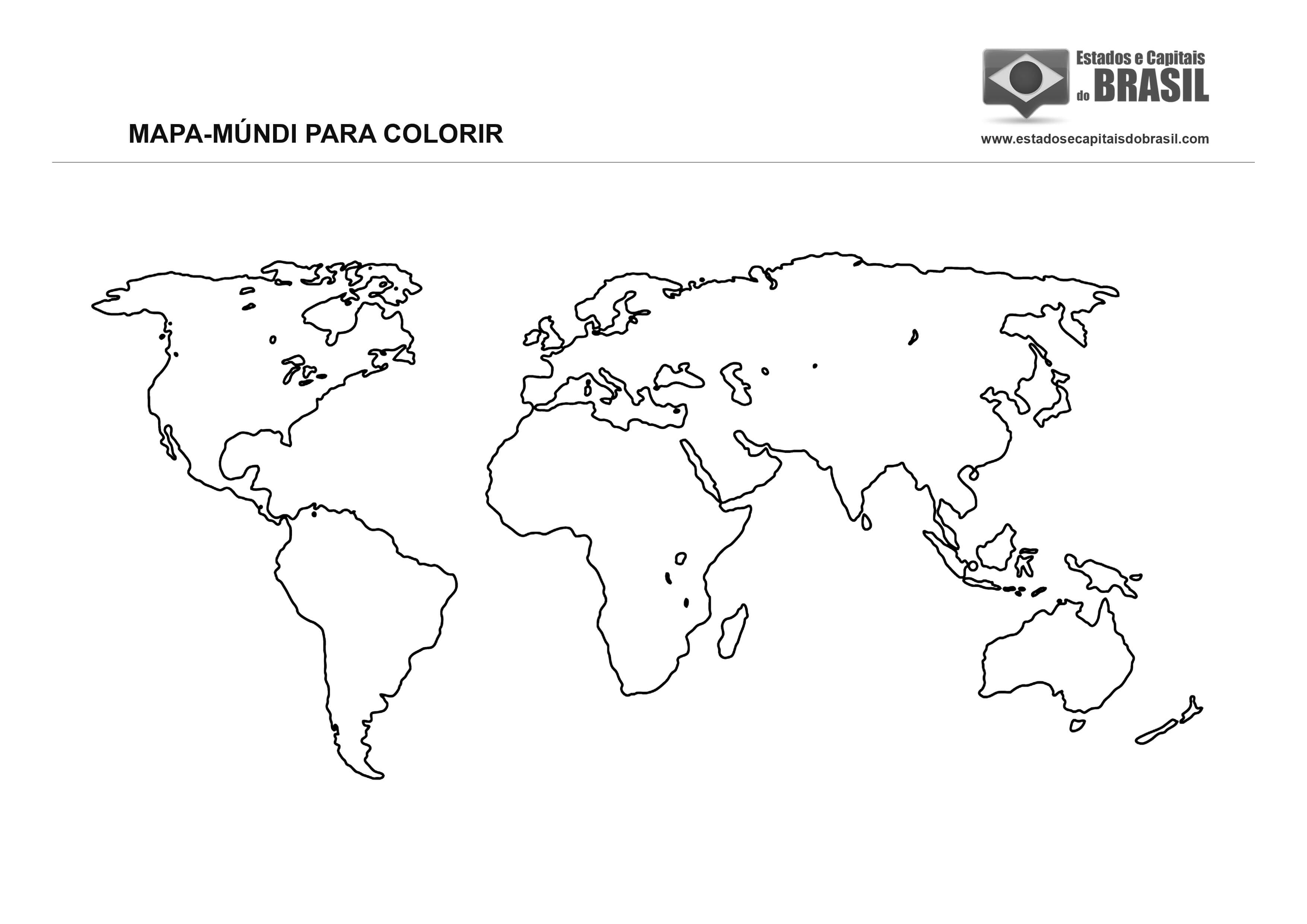 Mapa-Múndi para colorir (continentes)