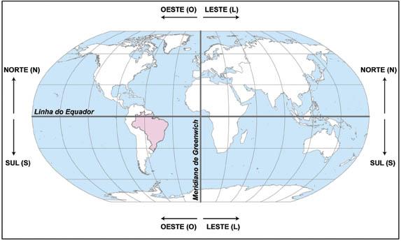 Mapa-múndi mostrando linhas imaginárias e hemisférios